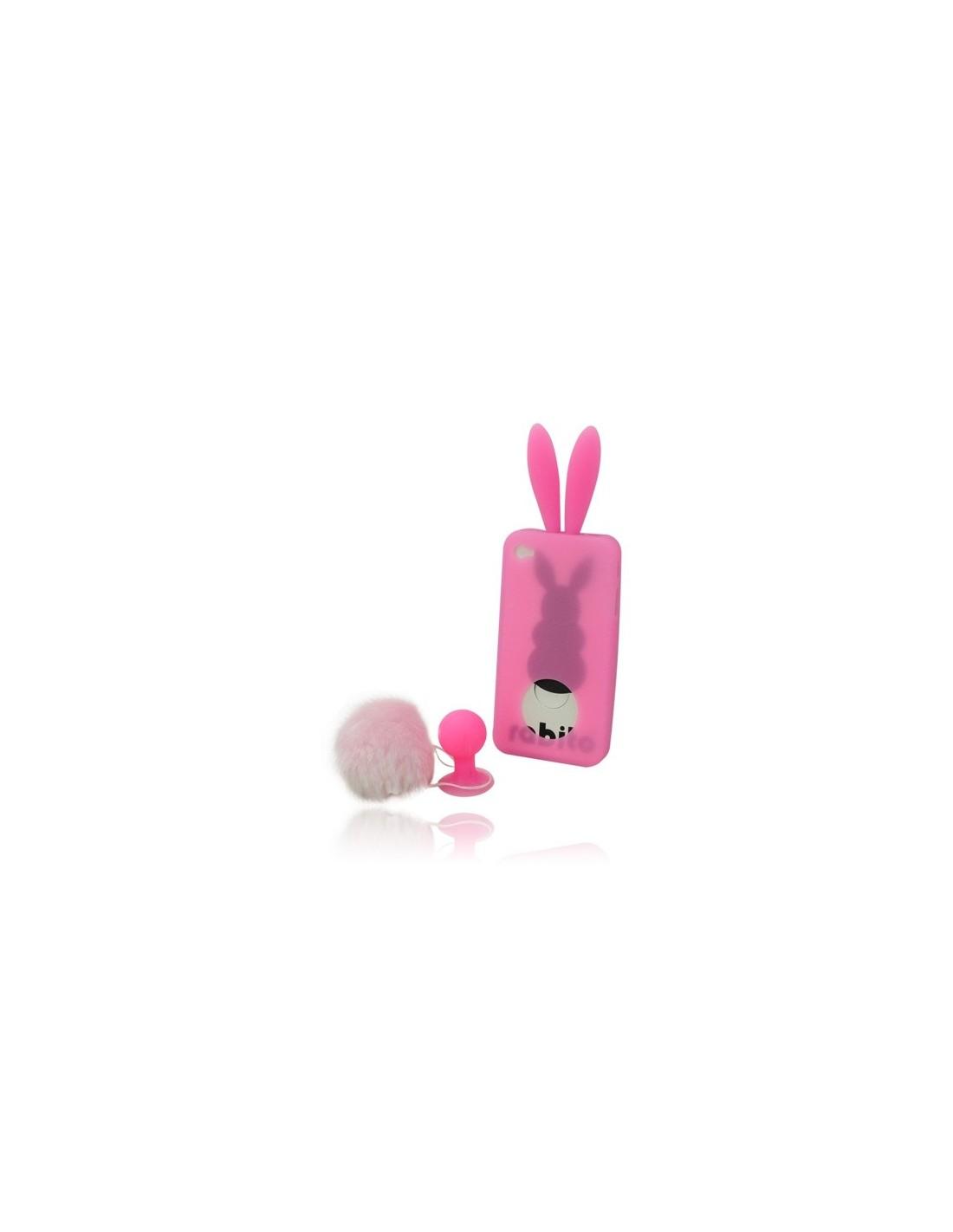 coque lapin rabbit en silicone pour iphone 4 4s coques. Black Bedroom Furniture Sets. Home Design Ideas