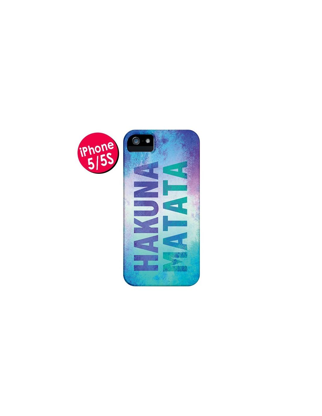 Coque iPhone 5/5S et SE Hakuna Matata Roi Lion Bleu - Mary Nesrala