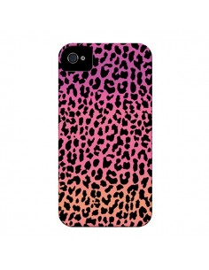 Coque Leopard Hot Rose Corail pour iPhone 4 et 4S - Mary Nesrala