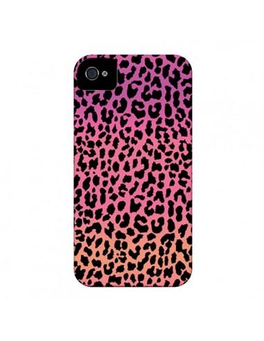 Coque Leopard Hot Rose Corail pour iPhone 4 et 4S - Mary Nesrala