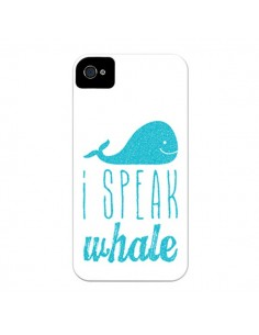 Coque I Speak Whale Baleine Bleu pour iPhone 4 et 4S - Mary Nesrala