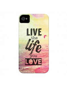Coque Live the Life you Love, Vis la Vie que tu Aimes pour iPhone 4 et 4S - Mary Nesrala