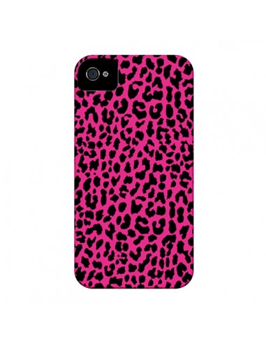 Coque Leopard Rose Pink Neon pour iPhone 4 et 4S - Mary Nesrala