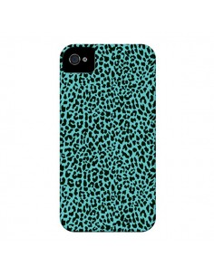 Coque Leopard Turquoise Neon pour iPhone 4 et 4S - Mary Nesrala