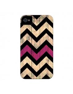 Coque Chevron Vintage Bois Wood pour iPhone 4 et 4S - Mary Nesrala