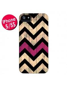 Coque Chevron Vintage Bois Wood pour iPhone 5 et 5S - Mary Nesrala
