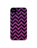 Coque Chevron Purple Sparkle Triangle Azteque pour iPhone 4 et 4S - Mary Nesrala