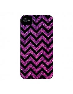 Coque Chevron Purple Sparkle Triangle Azteque pour iPhone 4 et 4S - Mary Nesrala