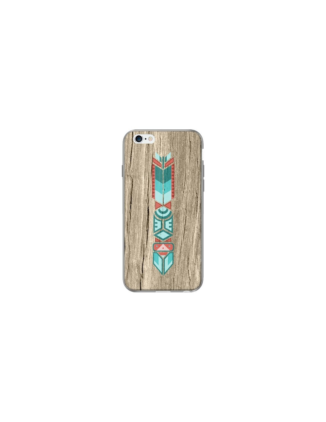 coque totem tribal azteque bois wood pour iphone 6 et 6s. Black Bedroom Furniture Sets. Home Design Ideas