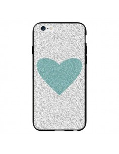 Coque Coeur Bleu Vert Argent Love pour iPhone 6 - Mary Nesrala