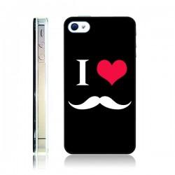 Coque I Love Moustache pour iPhone 4 et 4S - Nico
