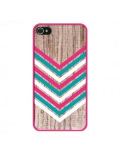 Coque Tribal Aztèque Bois Wood Flèche Rose Bleu pour iPhone 4 et 4S - Laetitia