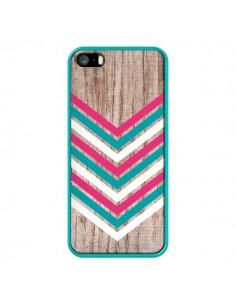 Coque Tribal Aztèque Bois Wood Flèche Rose Bleu pour iPhone 5 et 5S - Laetitia