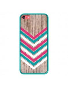 Coque Tribal Aztèque Bois Wood Flèche Rose Bleu pour iPhone 5C - Laetitia
