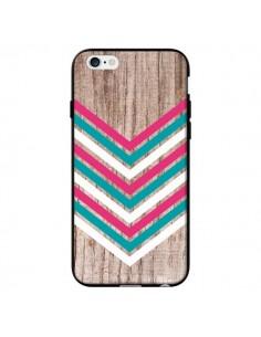 Coque Tribal Aztèque Bois Wood Flèche Rose Bleu pour iPhone 6 - Laetitia