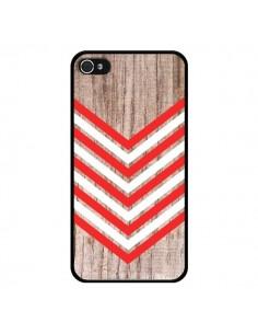 Coque Tribal Aztèque Bois Wood Flèche Rouge Blanc pour iPhone 4 et 4S - Laetitia