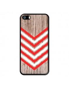 Coque Tribal Aztèque Bois Wood Flèche Rouge Blanc pour iPhone 5 et 5S - Laetitia