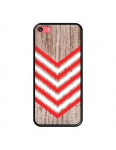Coque Tribal Aztèque Bois Wood Flèche Rouge Blanc pour iPhone 5C - Laetitia