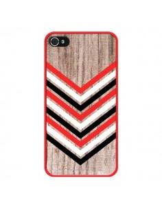 Coque Tribal Aztèque Bois Wood Flèche Rouge Blanc Noir pour iPhone 4 et 4S - Laetitia