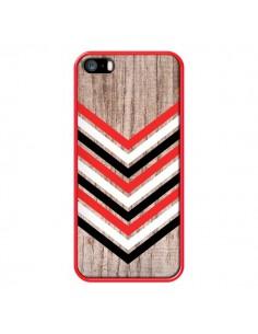 Coque Tribal Aztèque Bois Wood Flèche Rouge Blanc Noir pour iPhone 5 et 5S - Laetitia