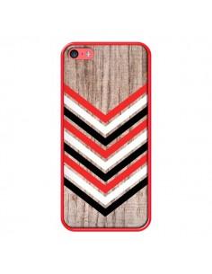 Coque Tribal Aztèque Bois Wood Flèche Rouge Blanc Noir pour iPhone 5C - Laetitia