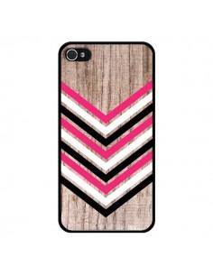 Coque Tribal Aztèque Bois Wood Flèche Rose Blanc Noir pour iPhone 4 et 4S - Laetitia