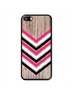 Coque Tribal Aztèque Bois Wood Flèche Rose Blanc Noir pour iPhone 5 et 5S - Laetitia