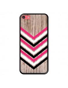 Coque Tribal Aztèque Bois Wood Flèche Rose Blanc Noir pour iPhone 5C - Laetitia