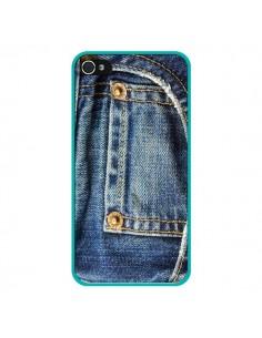 Coque Jean Bleu Vintage pour iPhone 4 et 4S - Laetitia