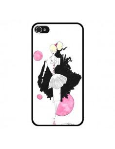 Coque Demoiselle Femme Fashion Mode Rose pour iPhone 4 et 4S - Cécile