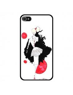 Coque Demoiselle Femme Fashion Mode Rouge pour iPhone 4 et 4S - Cécile