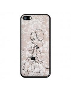 Coque Croquis Dentelle Femme Fashion Mode pour iPhone 5 et 5S - Cécile