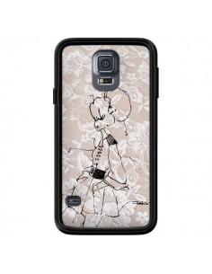 Coque Croquis Dentelle Femme Fashion Mode pour Samsung Galaxy S5 - Cécile