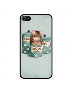 Coque Chaton Chat Kitten Boite Cookies Pois pour iPhone 4 et 4S - Maryline Cazenave