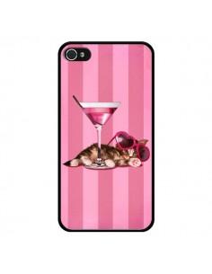 Coque Chaton Chat Kitten Cocktail Lunettes Coeur pour iPhone 4 et 4S - Maryline Cazenave