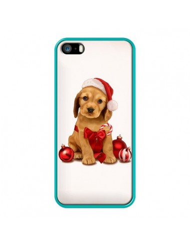Coque iPhone 5/5S et SE Chien Dog Pere Noel Christmas Boules Sapin - Maryline Cazenave