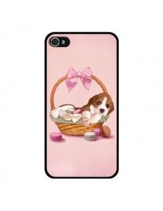 Coque Chien Dog Panier Noeud Papillon Macarons pour iPhone 4 et 4S - Maryline Cazenave
