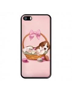 Coque Chien Dog Panier Noeud Papillon Macarons pour iPhone 5 et 5S - Maryline Cazenave