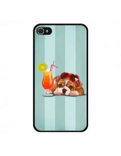 Coque Chien Dog Cocktail Lunettes Coeur pour iPhone 4 et 4S - Maryline Cazenave