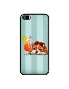 Coque Chien Dog Cocktail Lunettes Coeur pour iPhone 5 et 5S - Maryline Cazenave