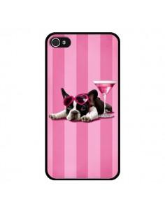 Coque Chien Dog Cocktail Lunettes Coeur Rose pour iPhone 4 et 4S - Maryline Cazenave