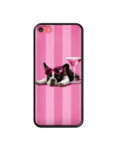 Coque Chien Dog Cocktail Lunettes Coeur Rose pour iPhone 5C - Maryline Cazenave