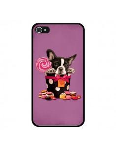 Coque Chien Dog Boite Noeud Papillon Pois Bonbon pour iPhone 4 et 4S - Maryline Cazenave