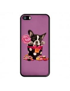 Coque Chien Dog Boite Noeud Papillon Pois Bonbon pour iPhone 5 et 5S - Maryline Cazenave