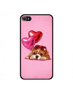 Coque Chien Dog Lunettes Coeur Ballon pour iPhone 4 et 4S - Maryline Cazenave