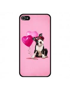 Coque Chien Dog Ballon Lunettes Coeur Rose pour iPhone 4 et 4S - Maryline Cazenave