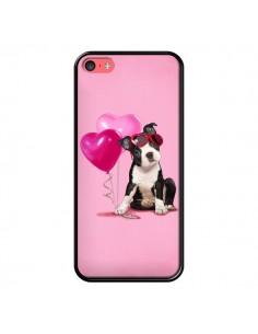 Coque Chien Dog Ballon Lunettes Coeur Rose pour iPhone 5C - Maryline Cazenave