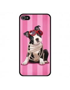Coque Chien Dog Fashion Collier Perles Lunettes Coeur pour iPhone 4 et 4S - Maryline Cazenave