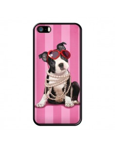 Coque Chien Dog Fashion Collier Perles Lunettes Coeur pour iPhone 5 et 5S - Maryline Cazenave