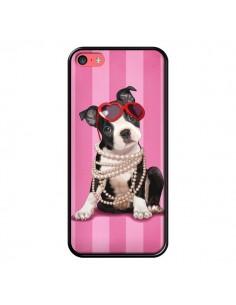 Coque Chien Dog Fashion Collier Perles Lunettes Coeur pour iPhone 5C - Maryline Cazenave